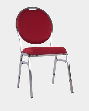 Picture of Oval Banquet Chair in Red Fabric Steel Frame