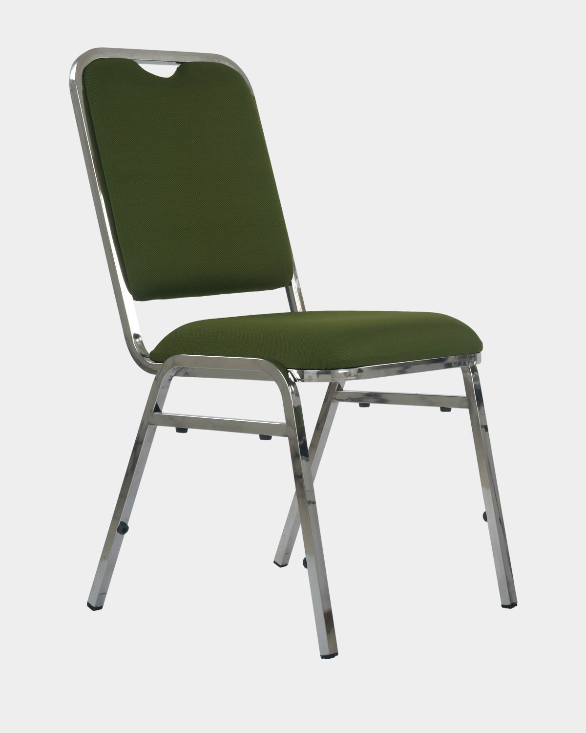 Stacking Banquet Chair In Dark Green Fabric