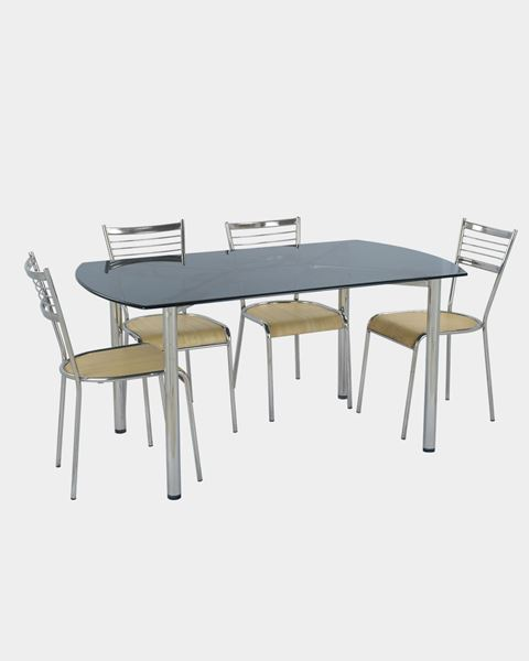 Picture of Laminated Glass Table and Stainless and Wooden Chairs