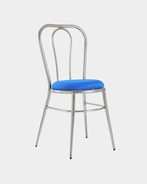 Picture of Metal Restaurant/Cafe Chair Top Wood (Blue)