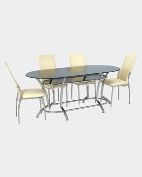 Picture of Glass Dining Table and 4 Rexine Dining Chairs
