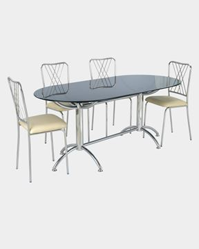 Picture of Glass Top Dining Table and 4 Rexin Dining Chairs