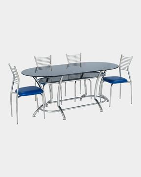 Picture of Restaurant Steel Dining Chair And Glass Top Table Set