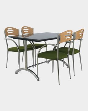 Picture of Restaurant Dining SS Back Wood Chair And Granite Table Set