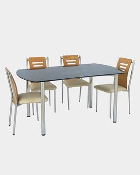 Picture of Restaurant SS Back Wood Dining Chair And Glass Top Table Set