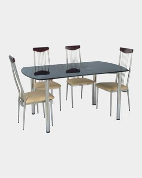 Picture of Restaurant Steel Wood Top Dining Chair And Glass Top Table Set