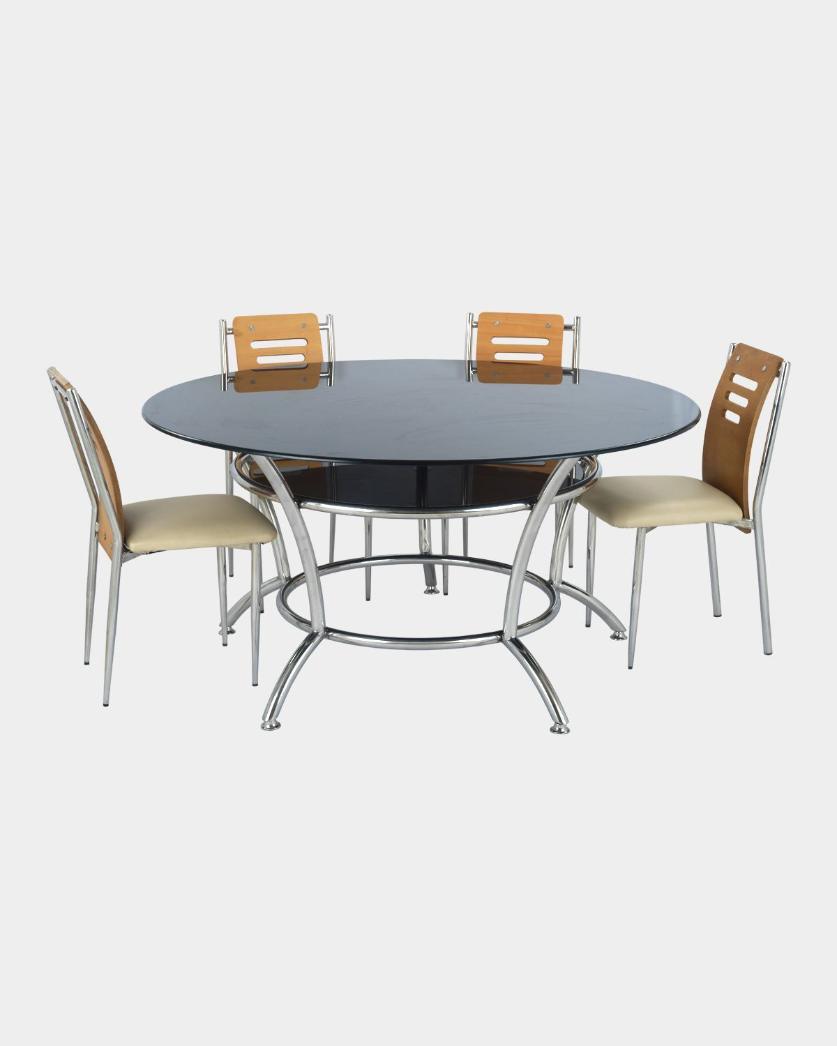Round Glass Top Dining Table And 4 Back Wood Dining Chairs