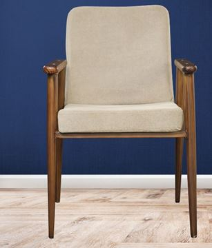 Picture of Wooden Brown Chair with Armrest & Cushion