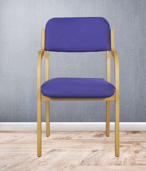 Picture of Wooden Golden Chair with  Cushion & Armrest
