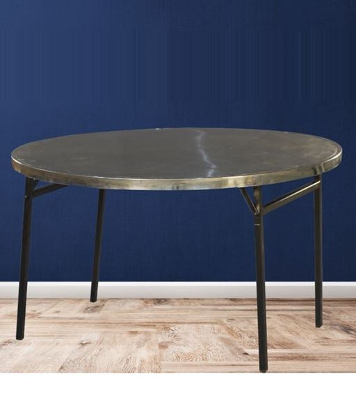 Picture of Folding stainless steel and powder coated round table portable home outdoor dining table