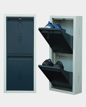 Picture of STAR CHAIRS Metal 2 Pair Shoe Rack Grey | Wall-mountable SC 1-2