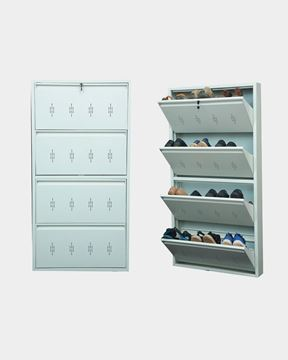 Picture of STAR CHAIRS Metal 12 Pair Shoe Rack White | Wall-mountable SC 3-12
