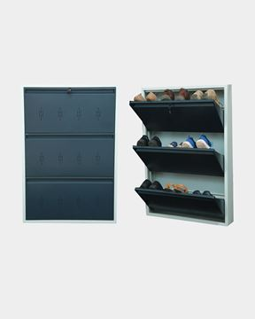 Picture of STAR CHAIRS Metal 9 Pair Shoe Rack Grey | Wall-mountable SC 3-9