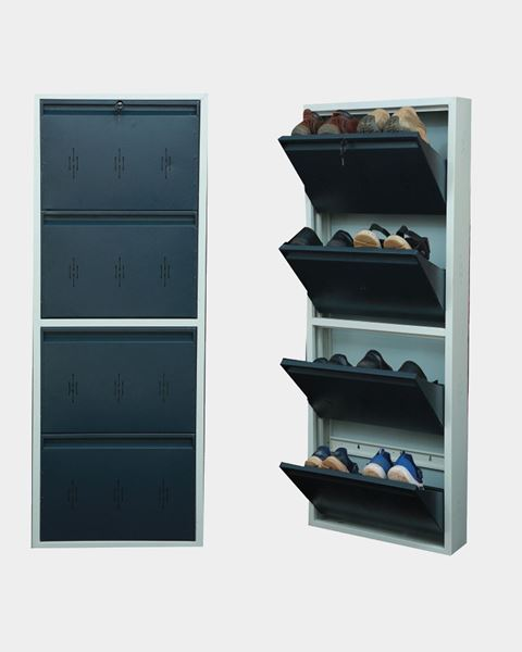 Picture of STAR CHAIRS Metal 8 Pair Shoe Rack Grey | Wall-mountable SC 2-8