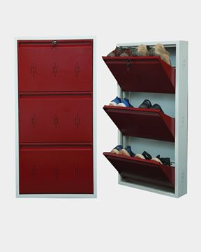 Picture of STAR CHAIRS Metal 6 Pair Shoe Rack Maroon | Wall-mountable SC 2-6