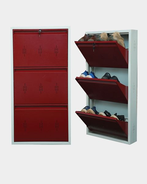 Picture of STAR CHAIRS Metal 6 Pair Shoe Rack Maroon   Wall-mountable SC 2-6