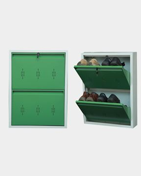 Picture of STAR CHAIRS Metal 4 Pair Shoe Rack Green | Wall-mountable SC 2-4