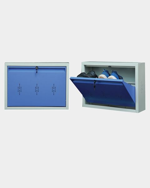 Picture of STAR CHAIRS Metal 2 Pair Shoe Rack Blue   Wall-mountable SC 2-2